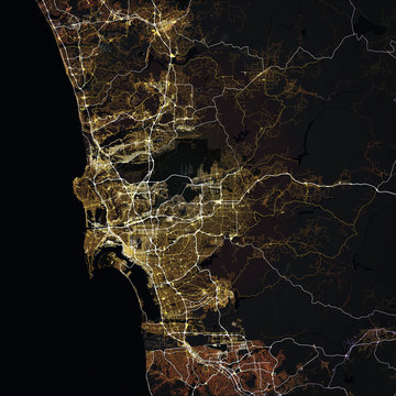 Map San Diego city. California