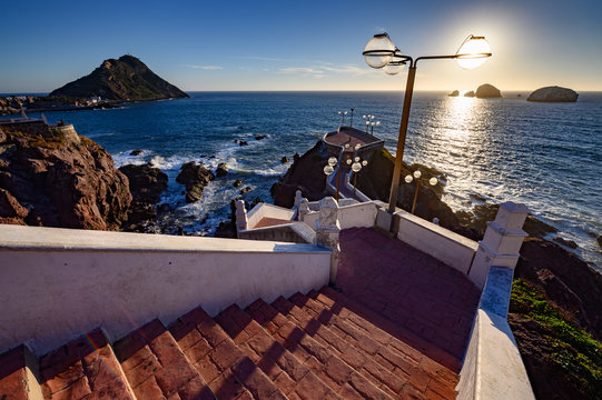 Paseo del Centenario with Mazatlan's lighthouse in the background