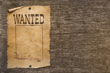 Wanted wild west poster on wood wall