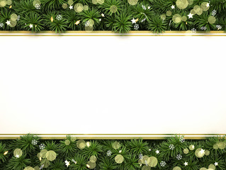 Christmas composition with cristmas tree border and copy space.