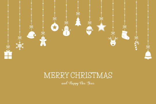 Xmas greeting card with simple decorations and wishes. Christmas ornaments concept. Vecto