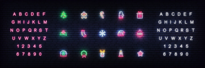 Christmas icons neon. Set of glowing neon icons design for Xmas and New Year