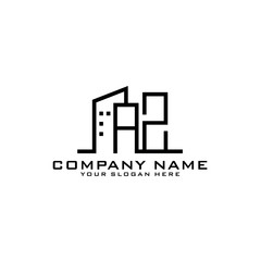 Letter AZ With Building For Construction Company Logo