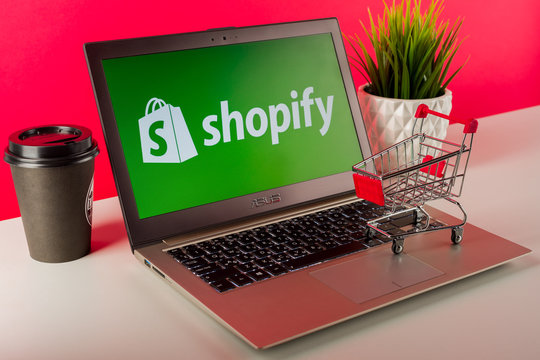 Tula, Russia - AUGUST 18, 2019: Shopify logo displayed on a modern laptop on desk