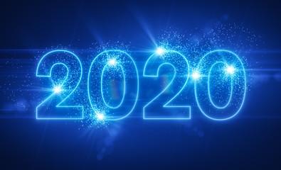2020 - Neon - Neonlicht - Neujahr - Silvester - Sylvester - Blau