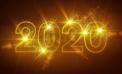 2020 - Neon - Neonlicht - Neujahr - Silvester - Sylvester - Gold