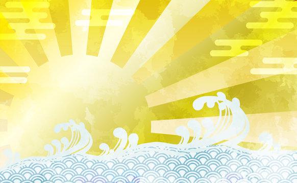 和柄を用いた波と太陽の背景イラスト エ霞 青海波