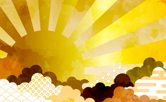 和柄を用いた雲の背景イラスト エ霞 青海波 鹿の子絞り