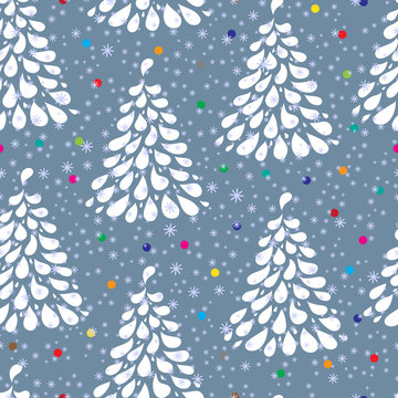 Christmas tree. Xmas and New Year background. Winter background. Holiday seamless pattern. Christmas seamless pattern