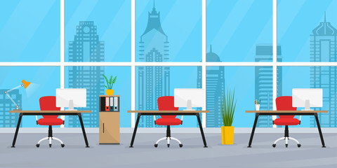 Office interior. Modern business workplace or workspace. Business room with desks and big window. Open space office concept. Vector illustration.