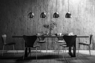 Dining Room Set in Contemporary Copper Design (B&W)- 3d visualization
