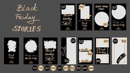 Black Friday Sale. Trendy editable Instagram Stories template. Design for social media.
