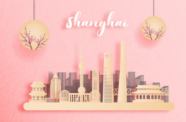 Wall Mural - Shanghai, China with world famous landmarks and beautiful Chinese lantern in paper cut style vector illustration
