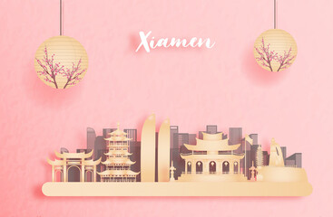 Wall Mural - Xiamen, China with world famous landmarks and beautiful Chinese lantern in paper cut style vector illustration