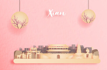 Wall Mural - Xian, China with world famous landmarks and beautiful Chinese lantern in paper cut style vector illustration