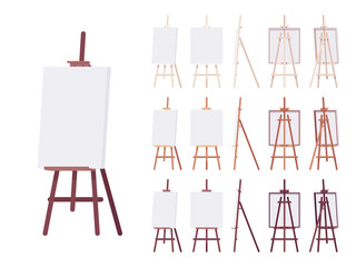 Wooden easel stand set with empty white canvas. Art and artist studio tripod display for amateur and professional painting, sketching. Vector flat style cartoon illustration, different colors and view