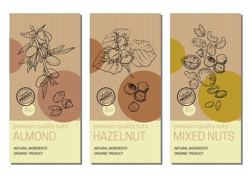 Vector set of labels with nuts sketches: almond, hazelnut and mixed nuts. Healthy food, bio, organic, natural product. Craft paper packaging