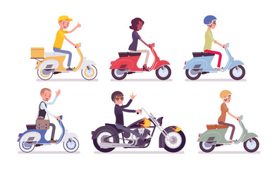 Biker and scooter drivers. Male, female happy persons riding different light motor vehicle, small motorcycles for sport, fun, work, business, recreation in city. Vector flat style cartoon illustration