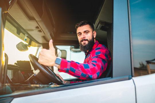 Truck driver preparing for the next destination