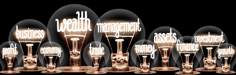 Light Bulbs with Wealth Management Concept Fototapete