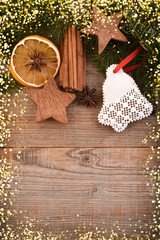 Christmas decoration on wooden background, copy space, frame.