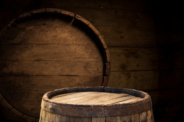 Wall Mural - Old wooden barrel on a brown background