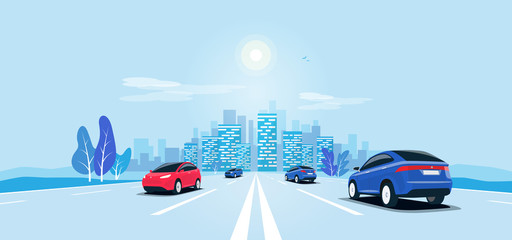 Poster Cartoon cars Traffic on the highway panoramic perspective horizon vanishing point view. Flat vector cartoon style illustration urban landscape motorway with cars, skyline city buildings and road going to the city.