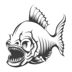 Piranha Fish Engraving Illustration