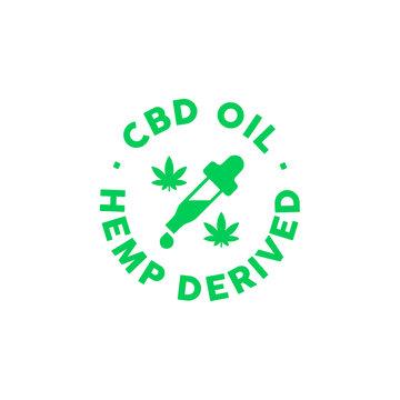 CBD oil Hemp derived vector icon