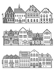 Set of old city street sketch. European cityscape with building facades. Vector illustration of city buildings in hand drawn style. Isolated on white background. Picture for decoration and coloring