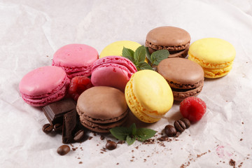 assorted colorful macaroon, traditional french confectionery