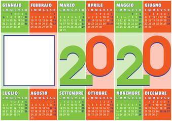 2020 calendar with vertical coloured stripes