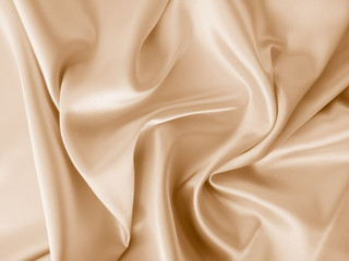 Fotobehang Stof Beautiful smooth elegant wavy beige / light brown satin silk luxury cloth fabric texture, abstract background design. Copy space.