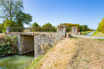 Bridge over the Canal de Berry in Centre-Val de Loire, France
