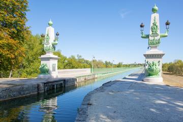 The historic Pont de Briare in over the river Loire in Centre-Val de Loire, France