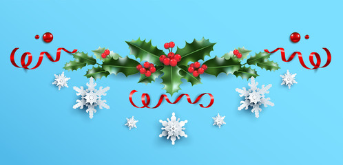 Fotomurales - Decorative garland on blue background