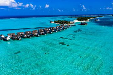 Aerial view, Lagoon of the Maldives island Maadhoo, South Male Atoll, Maldives Wall mural