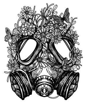 flower in gas mask toxicity emblem can be used tattoo design