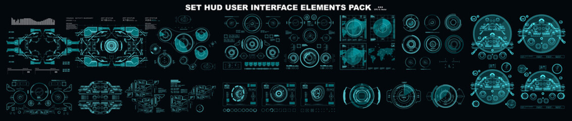 Futuristic HUD virtual graphic touch user interface, HUD interface elements. HUD dashboard display