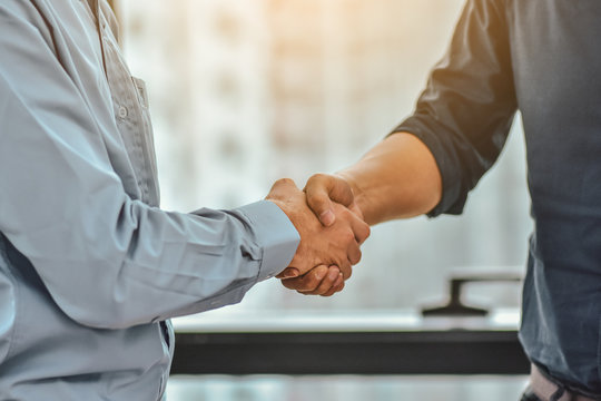 Businessman Shake hands success business project,People handshake greeting cooperation