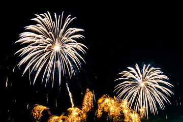 Beautiful firework display on sky at night for celebration