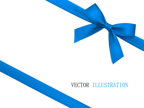 Vector blue gift bow with diagonally white ribbon for corner decor.
