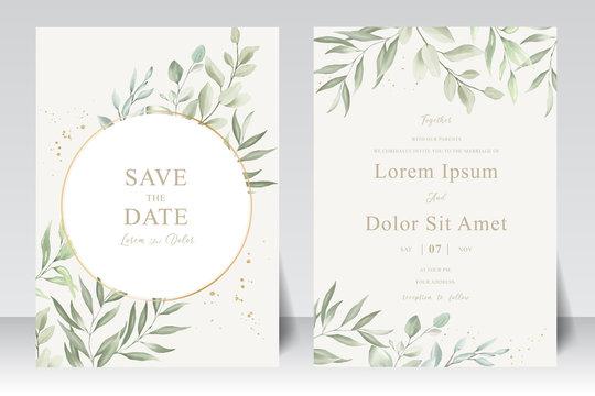 Watercolor Wedding Invitation template card With Beautiful Foliage