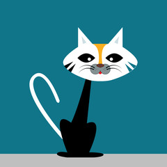 Ugly cat, illustration, vector on white background.