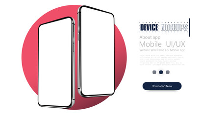 Smartphone mockup. Modern frameless smartphones, generic cell phone device side, isometric view design.Template for infographics or presentation UI design interface. 3D realistic phones. Vector