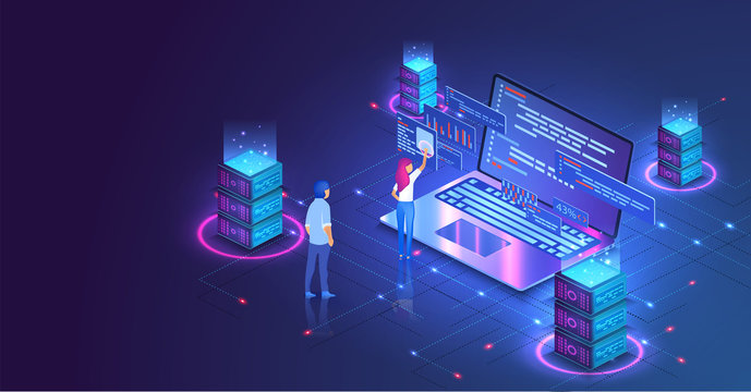 Web hosting or programming concept. Web programming development, laptop with UI UX interface. Computer web data center server isometric landing vector page. Vector illustration