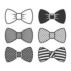 Bow Tie Icons Set on White Background. Vector