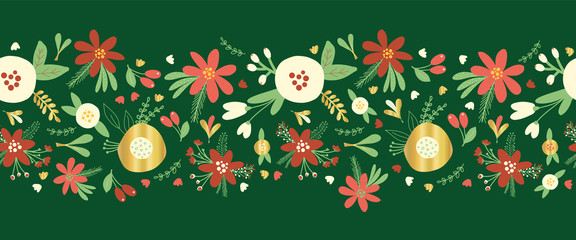 Christmas flower garland seamless vector border. Flat Scandinavian style florals and leaves with metallic gold foil elements. Elegant hand drawn Holiday design for card decor, ribbon, party invite