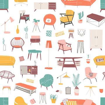 Home furniture hand drawn seamless pattern. Contemporary furniture pieces. Vintage armchair and retro table lamp flat vector illustrations. Home decor shop stylish wrapping paper, wallpaper design.