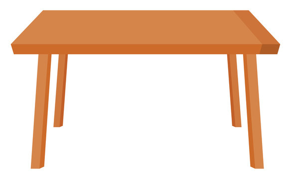 Kitchen table, illustration, vector on white background.